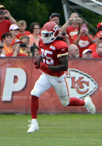 Jul 26, 2014; St. Joseph, MO, USA; Kansas City Chiefs running back Jamaal Charles (25) runs after a catch during training camp at Missouri Western State University. Mandatory Credit: John Rieger-USA TODAY Sports