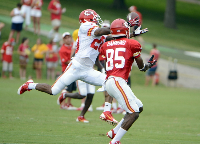 Jul 26, 2014; St. Joseph, MO, USA; Kansas City Chiefs cornerback Chris Owens (20) breaks up a pass intended for wide receiver Frankie Hammond (85) during training camp at Missouri Western State University. Mandatory Credit: John Rieger-USA TODAY Sports