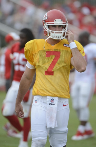 Jul 26, 2014; St. Joseph, MO, USA; Kansas City Chiefs quarterback Aaron Murray (7) during training camp at Missouri Western State University. Mandatory Credit: John Rieger-USA TODAY Sports