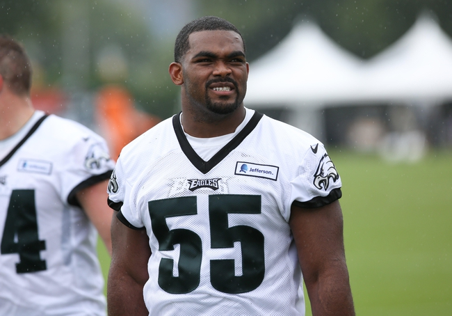 Jul 26, 2014; Philadelphia, PA, USA; Philadelphia Eagles linebacker Brandon Graham (55) walks off the field after training camp practice at the Novacare Complex in Philadelphia PA. Mandatory Credit: Bill Streicher-USA TODAY Sports