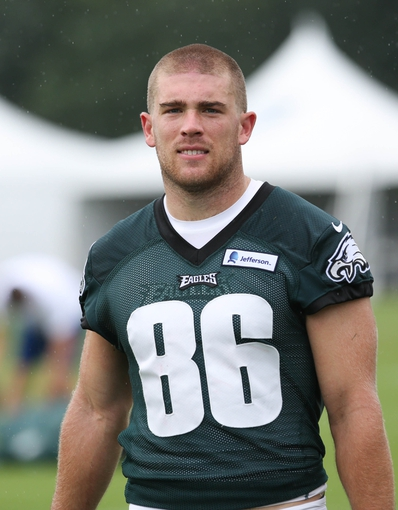 Jul 26, 2014; Philadelphia, PA, USA; Philadelphia Eagles tight end Zach Ertz (86) walks off the field after training camp practice at the Novacare Complex in Philadelphia PA. Mandatory Credit: Bill Streicher-USA TODAY Sports