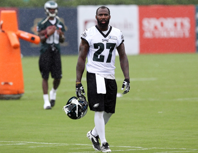Jul 26, 2014; Philadelphia, PA, USA; Philadelphia Eagles free safety Malcolm Jenkins (27) walks off the field after training camp practice at the Novacare Complex in Philadelphia PA. Mandatory Credit: Bill Streicher-USA TODAY Sports