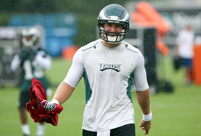 Jul 26, 2014; Philadelphia, PA, USA; wPhiladelphia Eagles quarterback Matt Barkley (2) walks off the field after training camp practice at the Novacare Complex in Philadelphia PA. Mandatory Credit: Bill Streicher-USA TODAY Sports