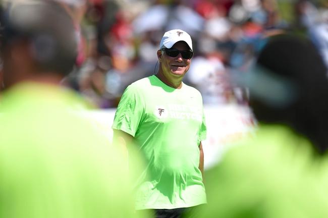 Jul 26, 2014; Atlanta, GA, USA; Atlanta Falcons head coach Mike Smith shown on the field during training camp at Falcons Training Complex. Mandatory Credit: Dale Zanine-USA TODAY Sports
