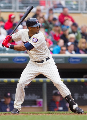 Jun 7, 2014; Minneapolis, MN, USA; Minnesota Twins center fielder Aaron Hicks (32) at bat against the Houston Astros at Target Field. Mandatory Credit: Brad Rempel-USA TODAY Sports