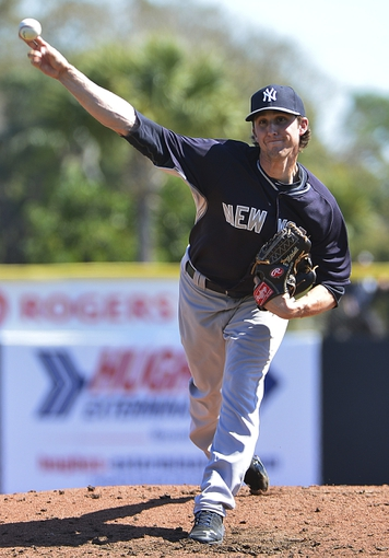 Mar 2, 2014; Dunedin, FL, USA; New York Yankees starting pitcher Bryan Mitchell (85) throws a pitch pitch during the third inning against the Toronto Blue Jays at Florida Auto Exchange Park. New York Yankees defeated the Toronto Blue Jays 8-2. Mandatory Credit: Tommy Gilligan-USA TODAY Sports