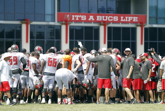 Jul 28, 2014; Tampa, FL, USA; Tampa Bay Buccaneers huddle up at the end of training camp at One Buc Place. Mandatory Credit: Kim Klement-USA TODAY Sports