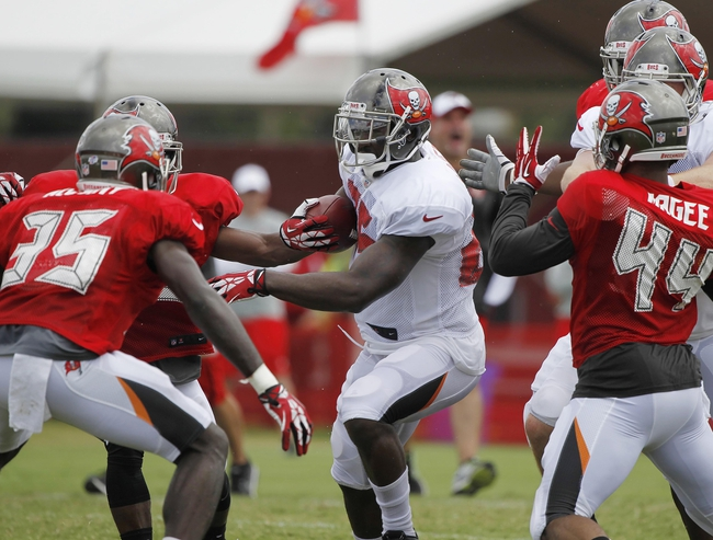 Jul 28, 2014; Tampa, FL, USA; Tampa Bay Buccaneers running back Mike James (25) runs with the ball during training camp at One Buc Place. Mandatory Credit: Kim Klement-USA TODAY Sports