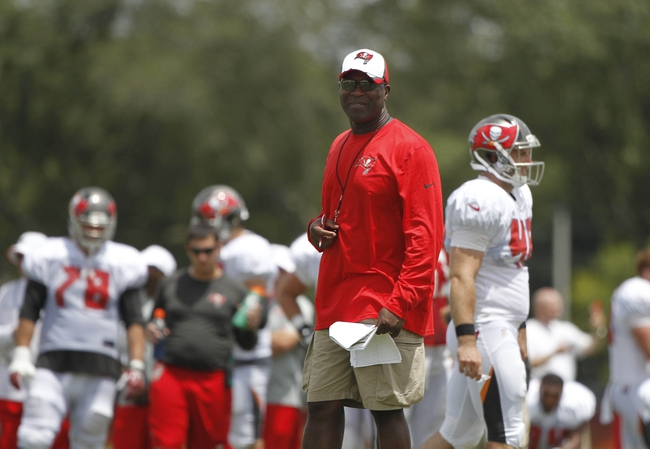 Jul 28, 2014; Tampa, FL, USA; Tampa Bay Buccaneers head coach Lovie Smith looks on during training camp at One Buc Place. Mandatory Credit: Kim Klement-USA TODAY Sports
