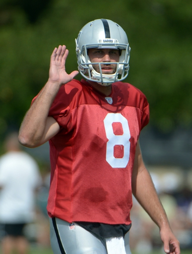 Jul 28, 2014; Napa, CA, USA; Oakland Raiders quarterback Matt Schaub (8) gestures at training camp at Napa Valley Marriott. Mandatory Credit: Kirby Lee-USA TODAY Sports