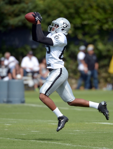 Jul 28, 2014; Napa, CA, USA; Oakland Raiders receiver Seth Roberts (85) catches a pass at training camp at Napa Valley Marriott. Mandatory Credit: Kirby Lee-USA TODAY Sports