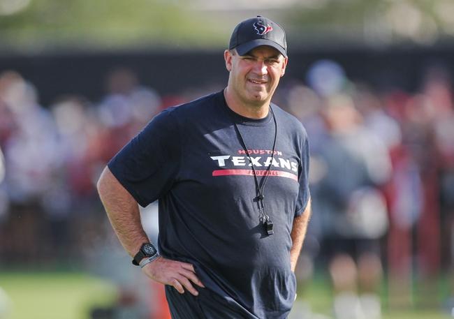 Jul 26, 2014; Houston, TX, USA; Houston Texans head coach Bill O'Brien watches during training camp at Houston Methodist Training Center. Mandatory Credit: Troy Taormina-USA TODAY Sports