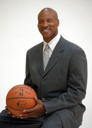 Jul 29, 2014; El Segundo, CA, USA; Byron Scott poses at a press conference to announce his hiring as Los Angeles Lakers coach at Toyota Sports Center. Mandatory Credit: Kirby Lee-USA TODAY Sports