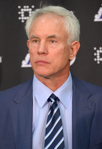 Jul 29, 2014; El Segundo, CA, USA; Los Angeles Lakers general manager Mitch Kupchak at press conference to announce Byron Scott (not pictured) as coach at Toyota Sports Center. Mandatory Credit: Kirby Lee-USA TODAY Sports