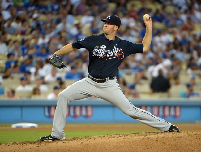 Jul 30, 2014; Los Angeles, CA, USA; Atlanta Braves starter Alex Wood delivers a pitch against the Los Angeles Dodgers at Dodger Stadium. Mandatory Credit: Kirby Lee-USA TODAY Sports