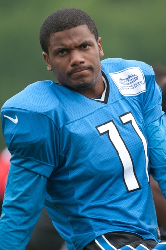 Aug 2, 2014; Detroit, MI, USA; Detroit Lions wide receiver Kevin Ogletree (11) during training camp at the Lions training facility. Mandatory Credit: Tim Fuller-USA TODAY Sports