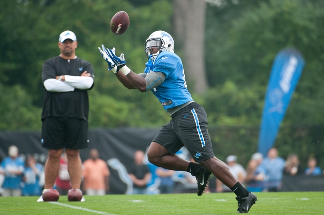 Aug 2, 2014; Detroit, MI, USA; Detroit Lions running back Chad Abram (44) during training camp at the Lions training facility. Mandatory Credit: Tim Fuller-USA TODAY Sports