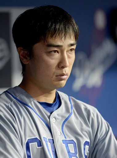 Aug 2, 2014; Los Angeles, CA, USA;  Chicago Cubs starting pitcher Tsuyoshi Wada (67) in the dugout during the sixth inning of the game against the Los Angeles Dodgers at Dodger Stadium. Mandatory Credit: Jayne Kamin-Oncea-USA TODAY Sports