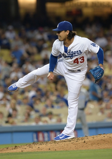 Aug 2, 2014; Los Angeles, CA, USA;  Los Angeles Dodgers relief pitcher Brandon League (43) in the eighth inning of the game against the Chicago Cubs at Dodger Stadium. Mandatory Credit: Jayne Kamin-Oncea-USA TODAY Sports