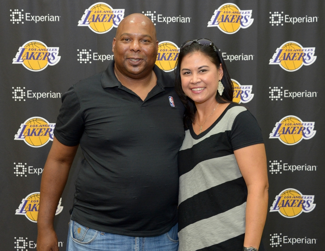 Jul 29, 2014; El Segundo, CA, USA; Marc Q. Jones (left) and Kristie Johnston poses at press conference at Toyota Sports Center. Mandatory Credit: Kirby Lee-USA TODAY Sports