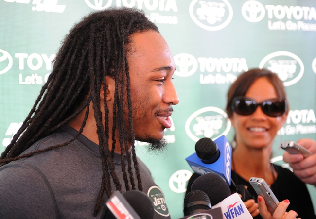 Aug 4, 2014; Cortland, NY, USA; New York Jets free safety Calvin Pryor (25) speaks with the media following training camp at SUNY Cortland. Mandatory Credit: Rich Barnes-USA TODAY Sports
