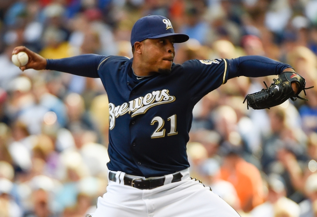 Aug 7, 2014; Milwaukee, WI, USA;  Milwaukee Brewers pitcher Jeremy Jeffress (21) pitches in the seventh inning against the San Francisco Giants at Miller Park. Mandatory Credit: Benny Sieu-USA TODAY Sports