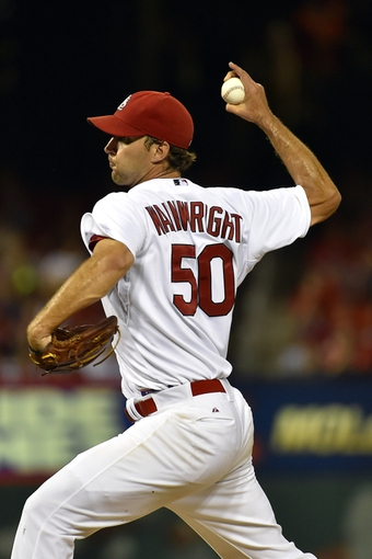 Aug 7, 2014; St. Louis, MO, USA;  St. Louis Cardinals starting pitcher Adam Wainwright (50) against the Boston Red Sox at Busch Stadium. Mandatory Credit: Jasen Vinlove-USA TODAY Sports