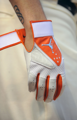Aug 8, 2014; Baltimore, MD, USA; A general view of the batting glove of Baltimore Orioles third baseman Manny Machado (13) in the third inning against the St. Louis Cardinals at Oriole Park at Camden Yards. Mandatory Credit: Joy R. Absalon-USA TODAY Sports