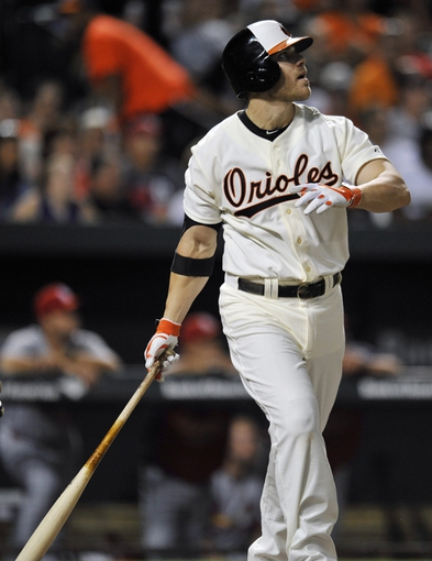 Aug 8, 2014; Baltimore, MD, USA; Baltimore Orioles first baseman Chris Davis (19) hits a solo home run in the sixth inning against the St. Louis Cardinals at Oriole Park at Camden Yards. The Orioles won 12-2. Mandatory Credit: Joy R. Absalon-USA TODAY Sports