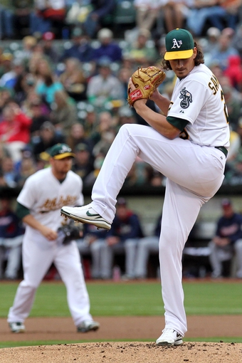 Aug 9, 2014; Oakland, CA, USA; Oakland Athletics starting pitcher Jeff Samardzija (29) throws to the Minnesota Twins in the first inning of their MLB baseball game at O.co Coliseum. Mandatory Credit: Lance Iversen-USA TODAY Sports