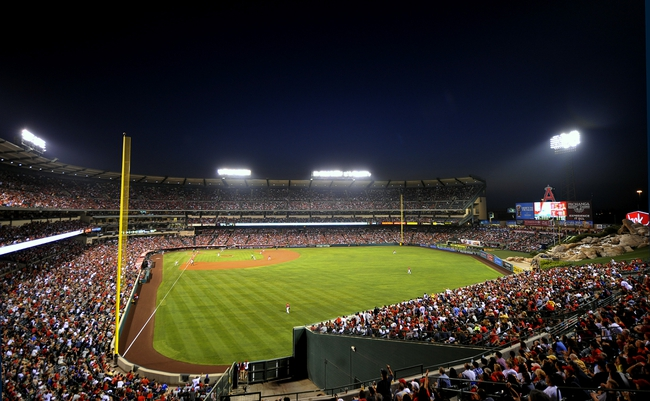 August 9, 2014; Anaheim, CA, USA; General view as the Los Angeles Angels play against the Boston Red Sox at Angel Stadium of Anaheim. Mandatory Credit: Gary A. Vasquez-USA TODAY Sports