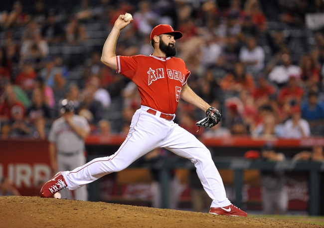 August 9, 2014; Anaheim, CA, USA; Los Angeles Angels starting pitcher Matt Shoemaker (52) pitches the seventeenth inning in relief against the Boston Red Sox at Angel Stadium of Anaheim. Mandatory Credit: Gary A. Vasquez-USA TODAY Sports