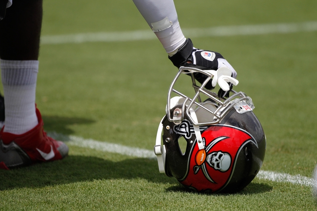 Jul 28, 2014; Tampa, FL, USA; Tampa Bay Buccaneers helmet during training camp at One Buc Place. Mandatory Credit: Kim Klement-USA TODAY Sports