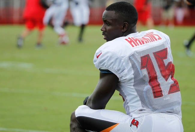 Jul 28, 2014; Tampa, FL, USA; Tampa Bay Buccaneers wide receiver Lavelle Hawkins (15) during training camp at One Buc Place. Mandatory Credit: Kim Klement-USA TODAY Sports