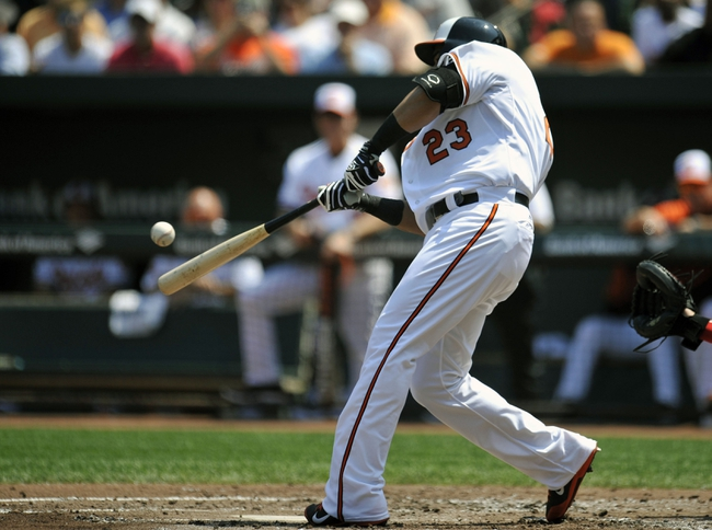 Aug 10, 2014; Baltimore, MD, USA; Baltimore Orioles designated hitter Nelson Cruz (23) hits a one run rbi double in the first inning against the St. Louis Cardinals at Oriole Park at Camden Yards. Mandatory Credit: Joy R. Absalon-USA TODAY Sports