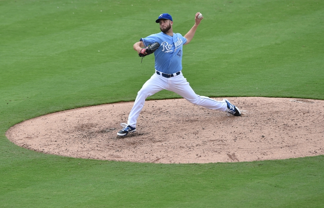 Aug 10, 2014; Kansas City, MO, USA; Kansas City Royals pitcher Danny Duffy (41) delivers a pitch against the San Francisco Giants during the fifth inning at Kauffman Stadium. Mandatory Credit: Peter G. Aiken-USA TODAY Sports