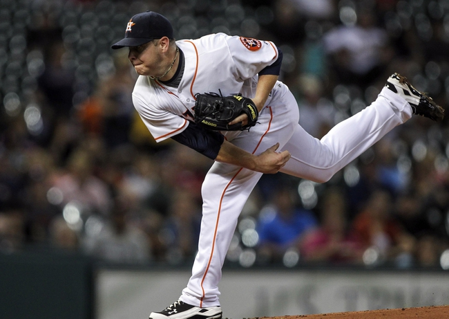 Aug 11, 2014; Houston, TX, USA; Houston Astros starting pitcher Brad Peacock (41) delivers a pitch during the first inning against the Minnesota Twins at Minute Maid Park. Mandatory Credit: Troy Taormina-USA TODAY Sports
