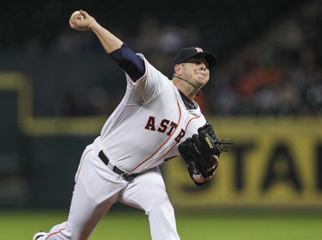 Aug 11, 2014; Houston, TX, USA; Houston Astros starting pitcher Brad Peacock (41) pitches during the fifth inning against the Minnesota Twins at Minute Maid Park. Mandatory Credit: Troy Taormina-USA TODAY Sports