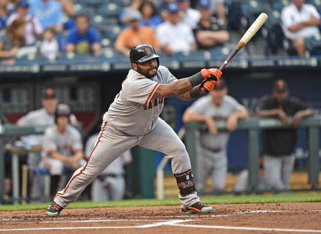 Aug 8, 2014; Kansas City, MO, USA; San Francisco Giants designated hitter Pablo Sandoval (48) at bat against the Kansas City Royals during the first inning at Kauffman Stadium. Mandatory Credit: Peter G. Aiken-USA TODAY Sports