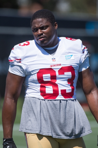 July 24, 2014; Santa Clara, CA, USA; San Francisco 49ers tight end Demarcus Dobbs (83) during training camp at the SAP Performance Facility. Mandatory Credit: Kyle Terada-USA TODAY Sports