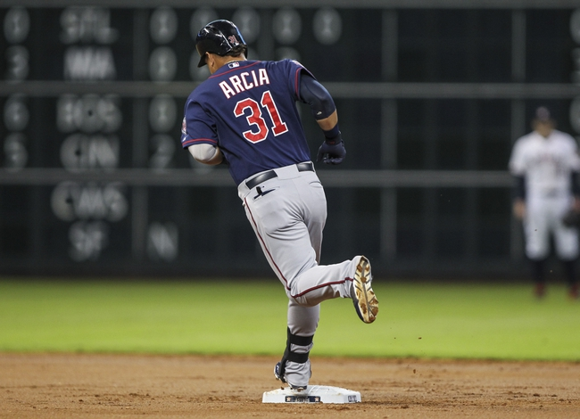 Aug 12, 2014; Houston, TX, USA; Minnesota Twins right fielder Oswaldo Arcia (31) rounds the bases after hitting a home run during the second inning against the Houston Astros at Minute Maid Park. Mandatory Credit: Troy Taormina-USA TODAY Sports