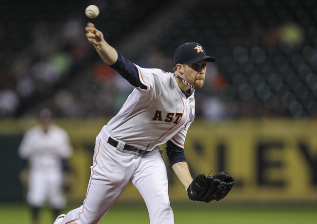 Aug 12, 2014; Houston, TX, USA; Houston Astros starting pitcher Collin McHugh (31) pitches during the third inning against the Minnesota Twins at Minute Maid Park. Mandatory Credit: Troy Taormina-USA TODAY Sports