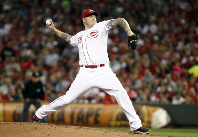 Aug 12, 2014; Cincinnati, OH, USA; Cincinnati Reds starting pitcher Mat Latos (55) pitches during the seventh inning against the Boston Red Sox at Great American Ball Park. The Red Sox defeated the Reds 3-2. Mandatory Credit: Frank Victores-USA TODAY Sports