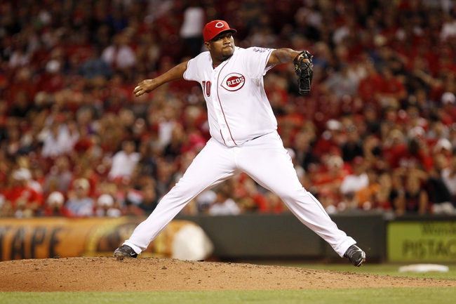 Aug 12, 2014; Cincinnati, OH, USA; Cincinnati Reds relief pitcher Jumbo Diaz (70) pitches during the ninth inning against the Boston Red Sox at Great American Ball Park. The Red Sox defeated the Reds 3-2. Mandatory Credit: Frank Victores-USA TODAY Sports