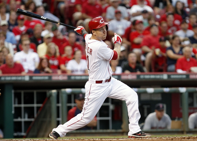 Aug 12, 2014; Cincinnati, OH, USA; Cincinnati Reds third baseman Todd Frazier (21) bats during the third inning against the Boston Red Sox at Great American Ball Park. Mandatory Credit: Frank Victores-USA TODAY Sports