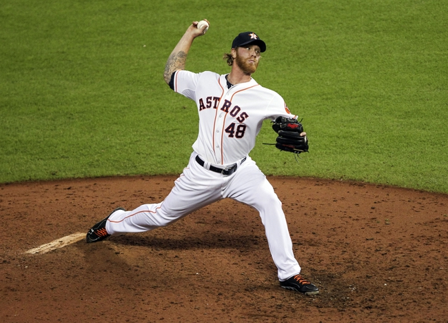Aug 12, 2014; Houston, TX, USA; Houston Astros relief pitcher Mike Foltynewicz (48) pitches during the ninth inning against the Minnesota Twins at Minute Maid Park. The Astros defeated the Twins 10-4. Mandatory Credit: Troy Taormina-USA TODAY Sports