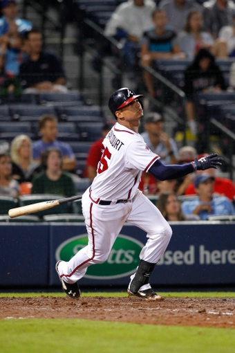 Jul 18, 2014; Atlanta, GA, USA; Atlanta Braves catcher Christian Bethancourt (25) bats against the Philadelphia Phillies in the eighth inning at Turner Field. Mandatory Credit: Brett Davis-USA TODAY Sports