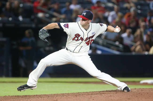 Aug 10, 2014; Atlanta, GA, USA; Atlanta Braves starting pitcher Alex Wood (40) delivers a pitch to an Washington Nationals batter during their game at Turner Field. The Braves won 3-1. Mandatory Credit: Jason Getz-USA TODAY Sports