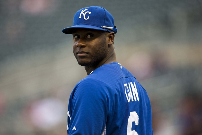 Aug 15, 2014; Minneapolis, MN, USA; Kansas City Royals center fielder Lorenzo Cain (6) looks on during pre game batting practice before a game against the Minnesota Twins at Target Field. Mandatory Credit: Jesse Johnson-USA TODAY Sports