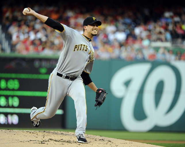 Aug 15, 2014; Washington, DC, USA; Pittsburgh Pirates starting pitcher Charlie Morton (50) throws during the first inning against the Washington Nationals at Nationals Park. Mandatory Credit: Brad Mills-USA TODAY Sports
